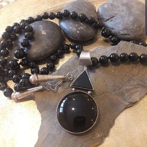 Vintage Navajo Sterling Onyx Necklace